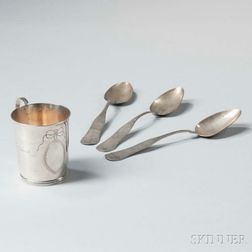 Silver Christening Cup and Three Coin Silver Tablespoons